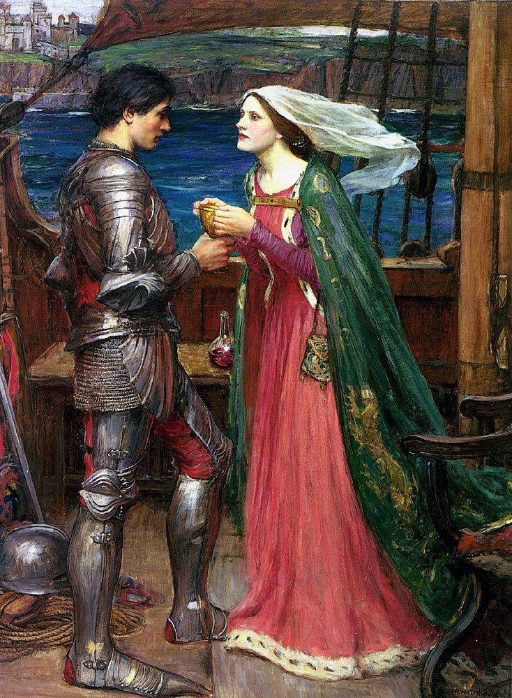 Tristan And Isolde Sharing The Potion | John William Waterhouse | Oil Painting
