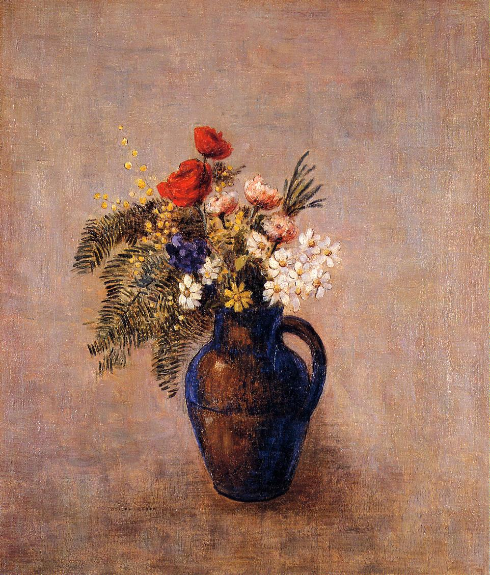 Bouquet of Flowers in a Blue Vase 1905-1910 | Odilon Redon | Oil Painting