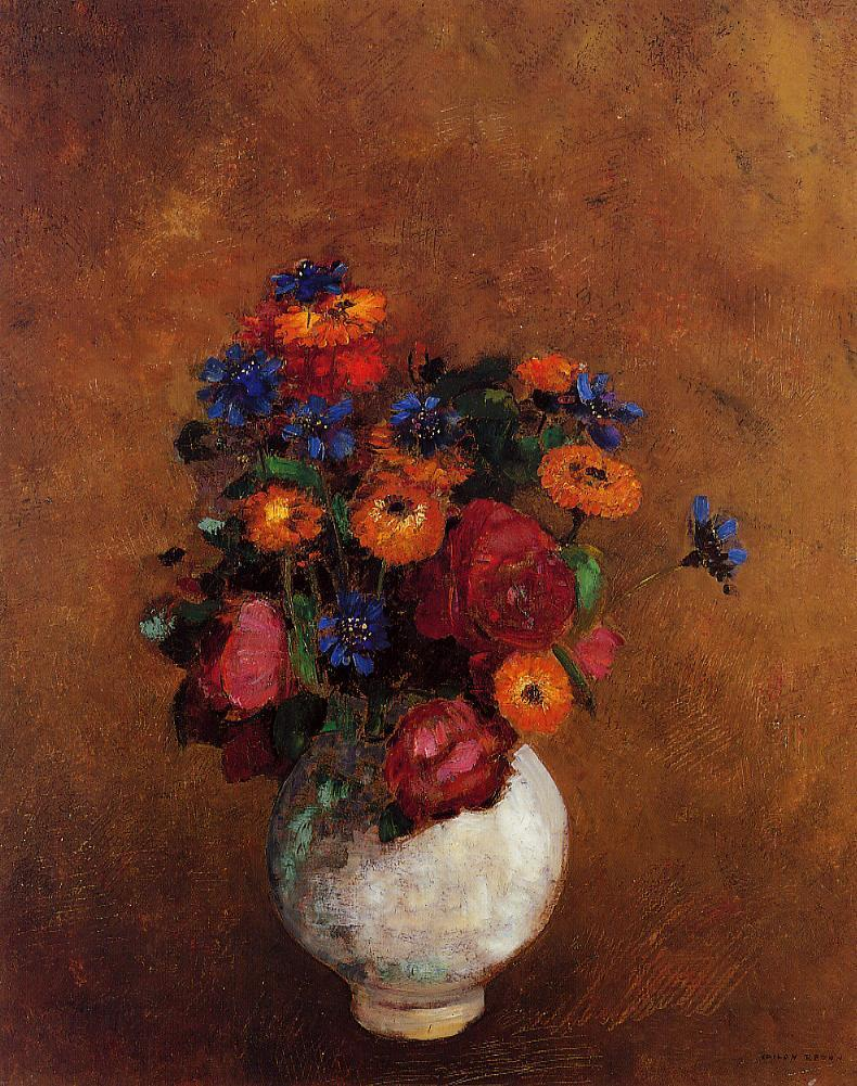 Bouquet of Flowers in a White Vase | Odilon Redon | Oil Painting