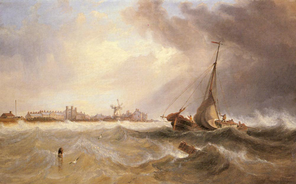 Shipping off a Coast in Choppy Seas | John Wilson Carmichael | Oil Painting