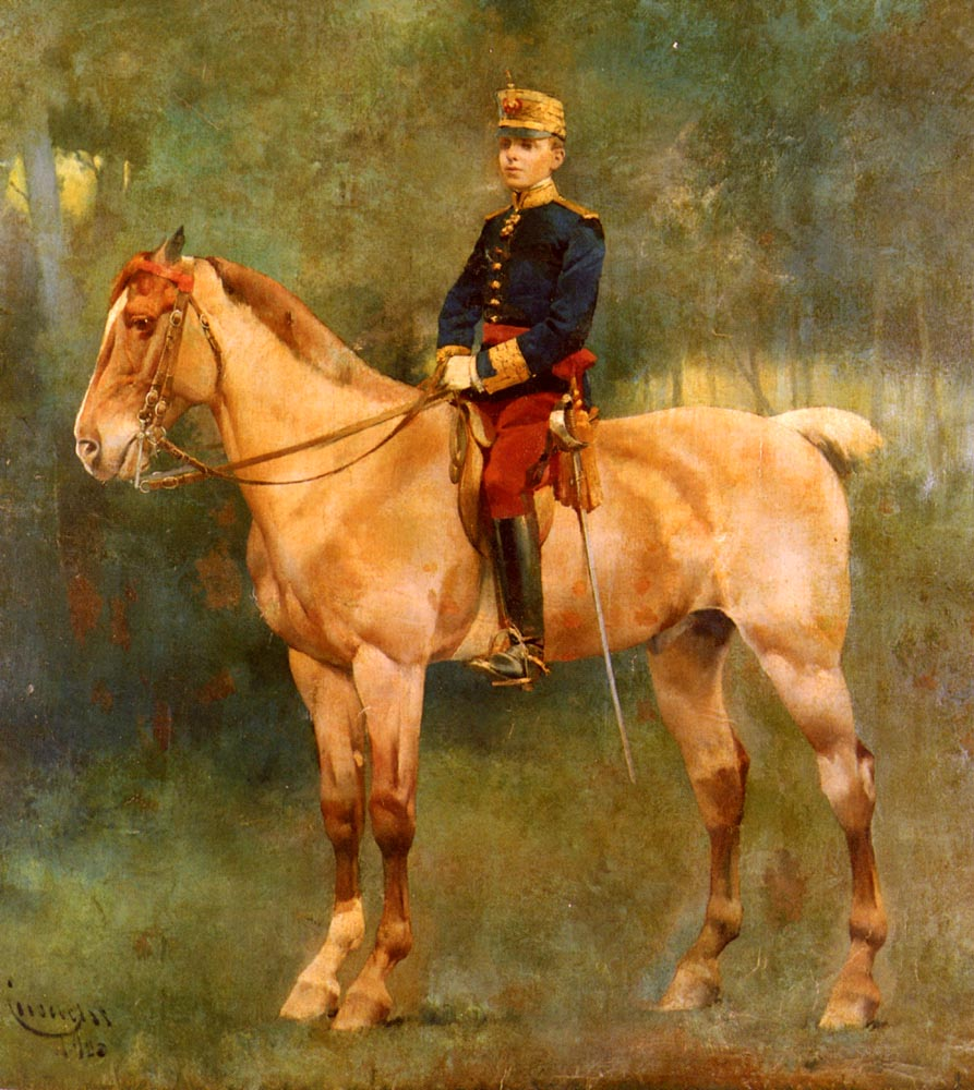 A Portrait Of Alfonso III On Horseback   Jose Cusachs Y Cusachs   Oil Painting