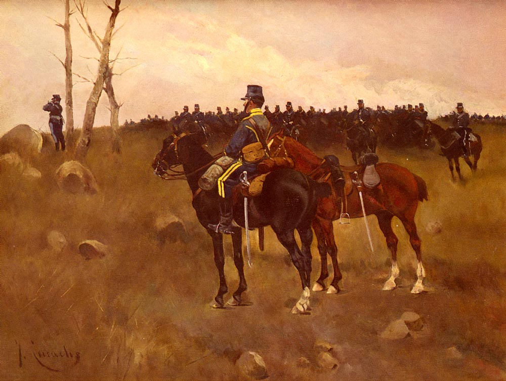 Soldiers On Horseback | Jose Cusachs Y Cusachs | Oil Painting