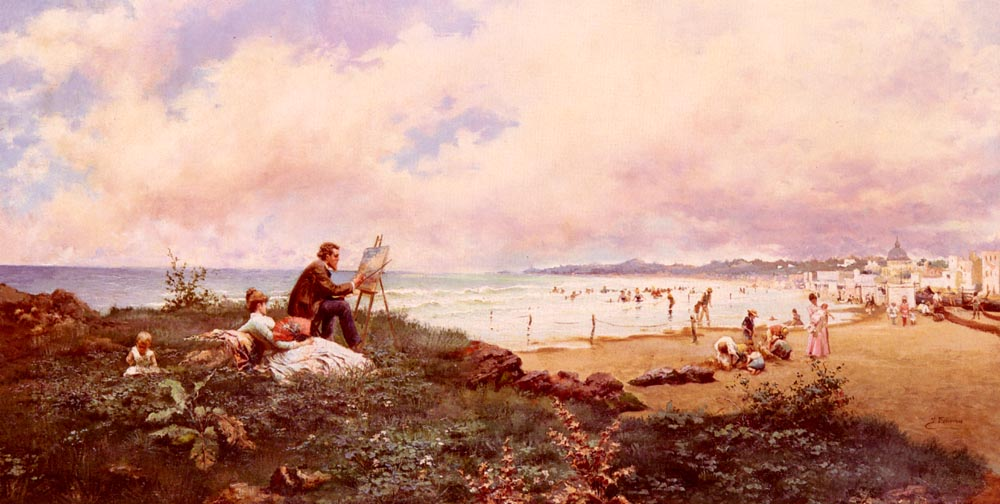 The Artist And His Family On The Beach At Biarri | Jose Echena | Oil Painting