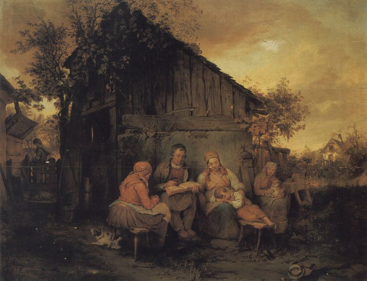 A Family Resting At Sunset | Josef Danhause | Oil Painting
