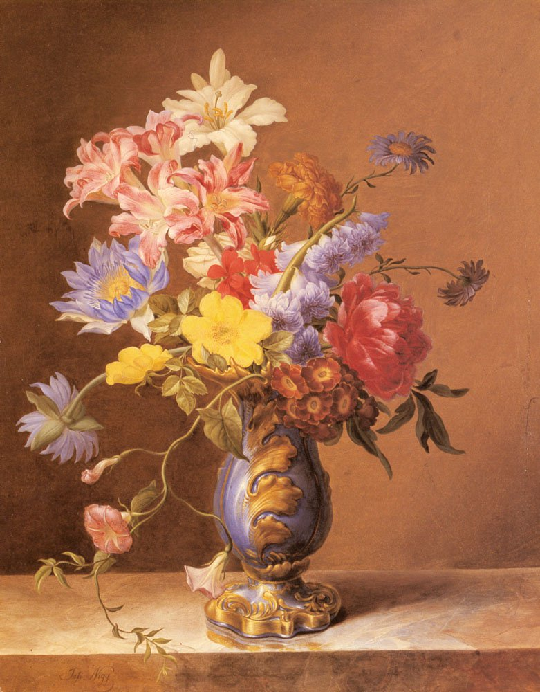 Flowers In A Blue Vase | Josef Nigg | Oil Painting
