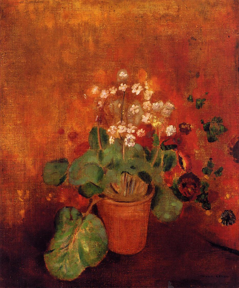Flowers in a Port on a Red Background | Odilon Redon | Oil Painting