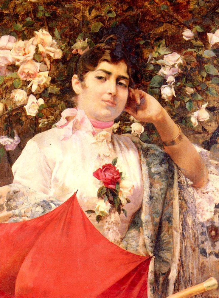 The Red Parasol | Jose Garcia y Ramos | Oil Painting