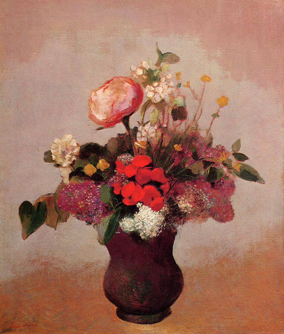 Flowers in a Brown Vase 1903-1905   Odilon Redon   Oil Painting