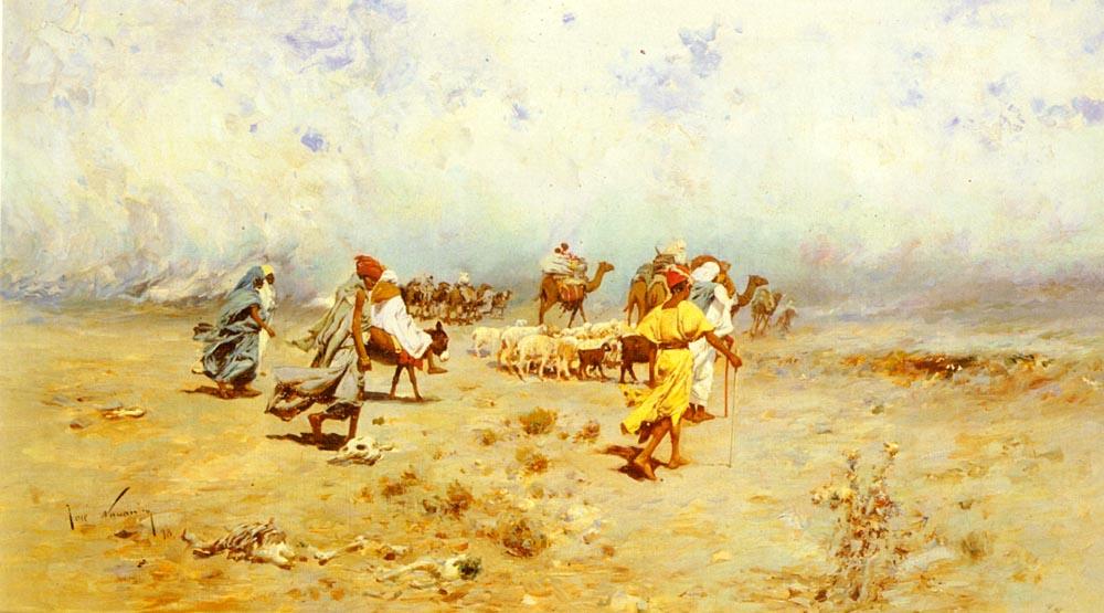 An Arab Caravan On the Move | Jose Navarro Llorens | Oil Painting
