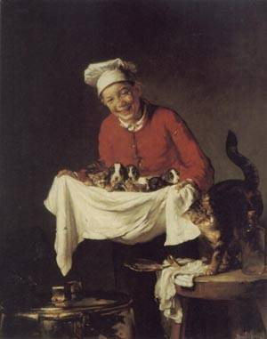 A Boy with Dogs and Kittens | Joseph Bail | Oil Painting
