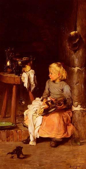 La Petite Fille Au Chaudron | Joseph Bail | Oil Painting