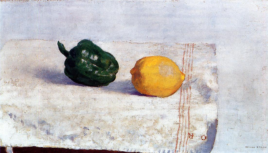 Pepper and Lemon on a White Tablecloth 1901 | Odilon Redon | Oil Painting