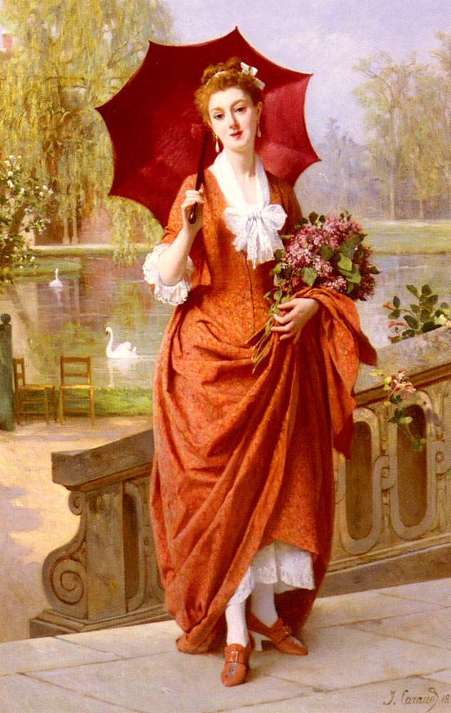 The Red Parasol | Joseph Caraud | Oil Painting