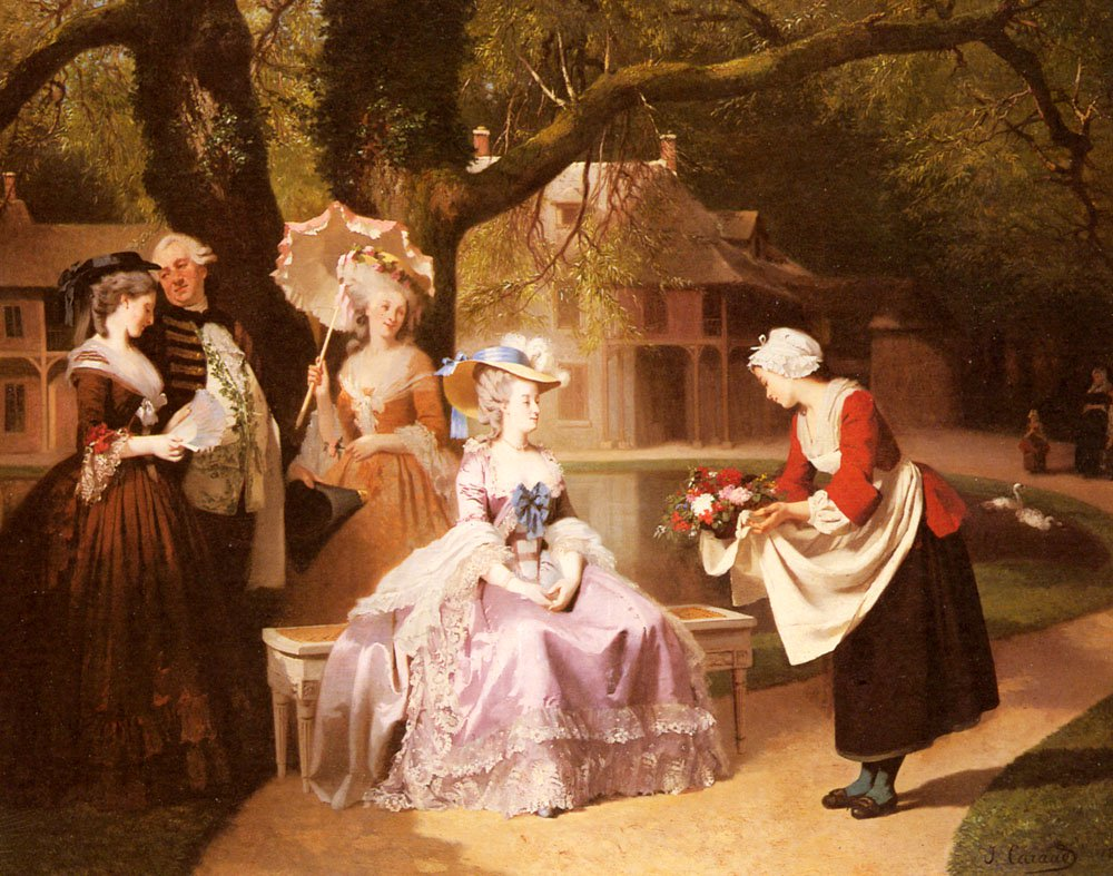 Marie Antoinette And Louis XVI In The Garden | Joseph Caraud | Oil Painting