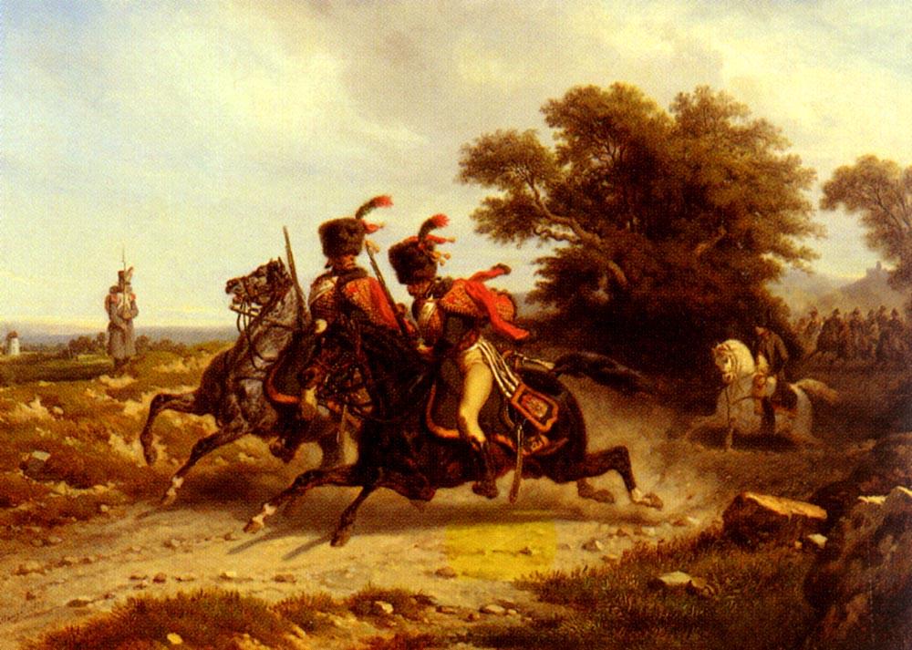 Hussards Escortant Napoleon | Joseph Louis Hippolyte Bellange | Oil Painting