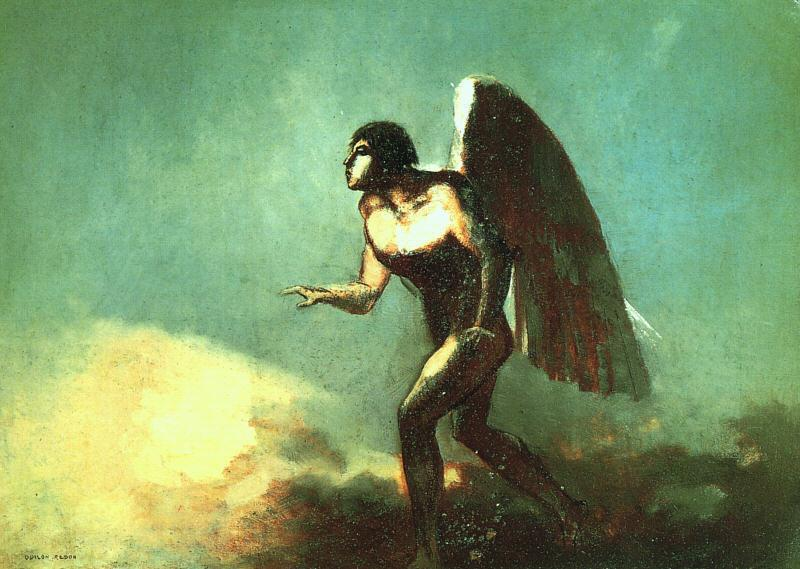 The Winged Man (aka The Fallen Angel) 1880 | Odilon Redon | Oil Painting