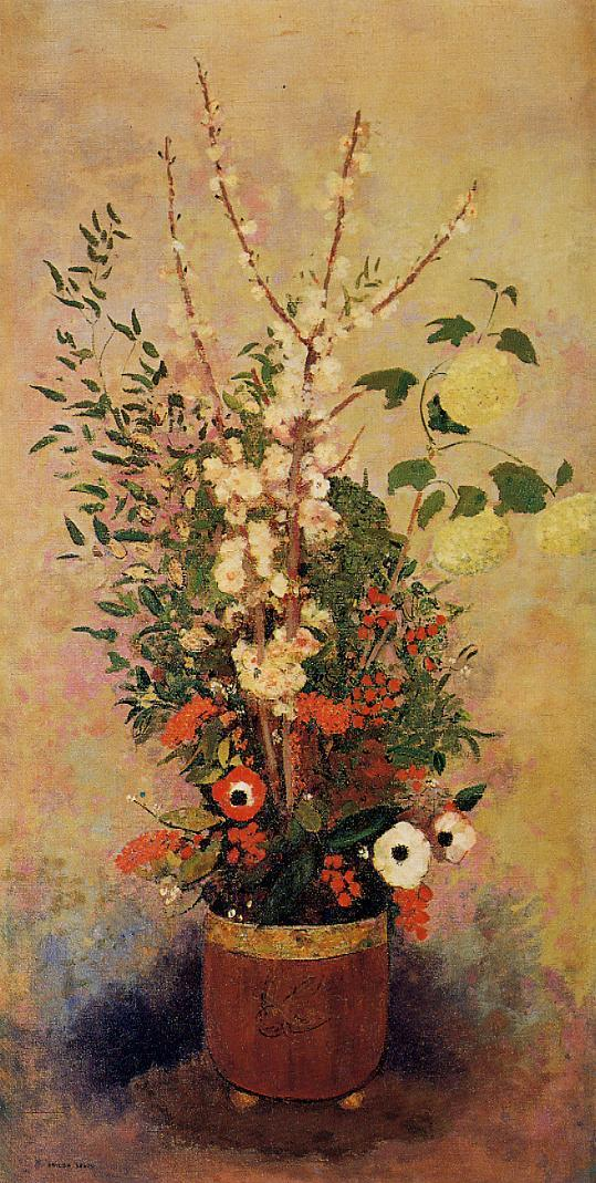 Vase of Flowers with Branches of a Flowering Apple Tree 1905-1906 | Odilon Redon | Oil Painting