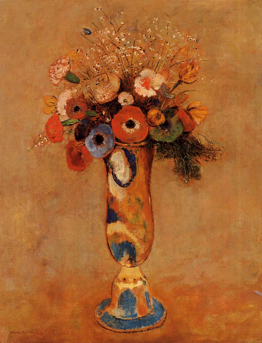Wildflowers in a Long Necked Vase 1912 | Odilon Redon | Oil Painting