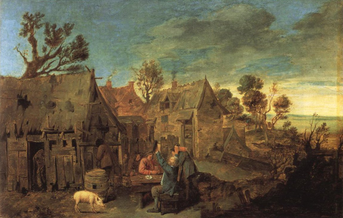 Village Scene With Men Drinking | Adriaen Brouwer | Oil Painting