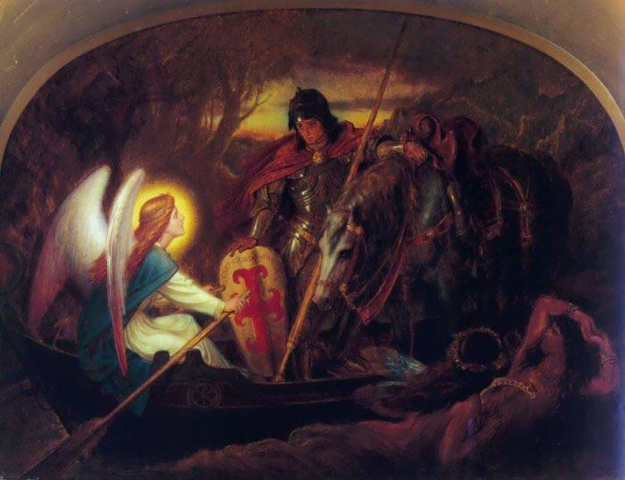 How an Angel Rowed Sir Galahad | Joseph Noel Paton | Oil Painting