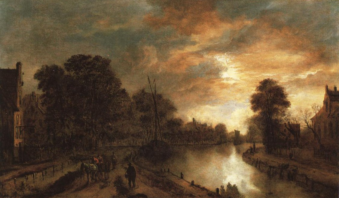 Moonlight Landscape With A Road Beside A Canal | Aert Van Der Neer | Oil Painting