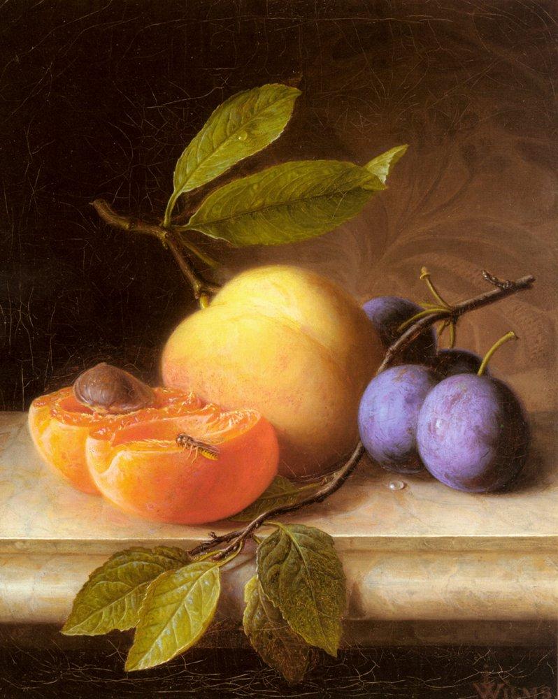 Stilleben Mit Pfirsich Und Pflaumen   Joseph Peter Wilms   Oil Painting