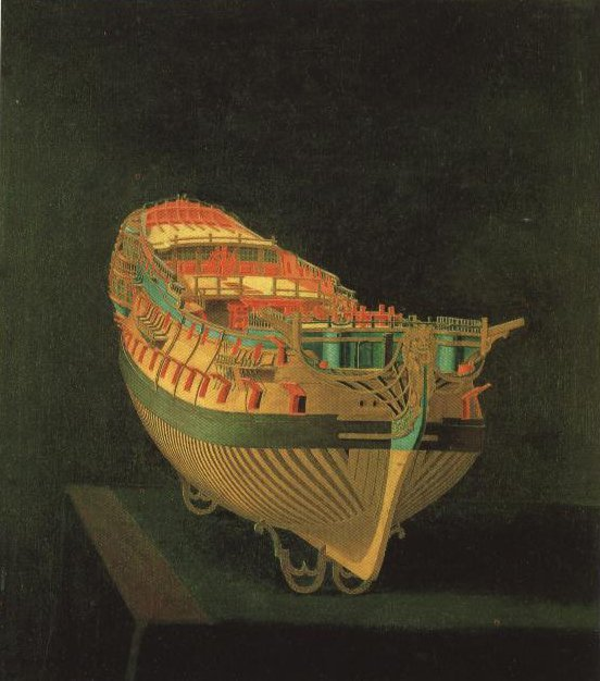 Model Ship Stern View | Anonymous English Master Circa 1760 | Oil Painting