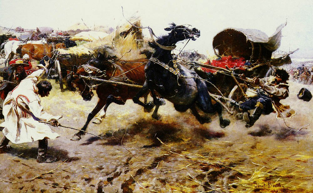 The Runaway Cart   Joseph Von Brandt   Oil Painting