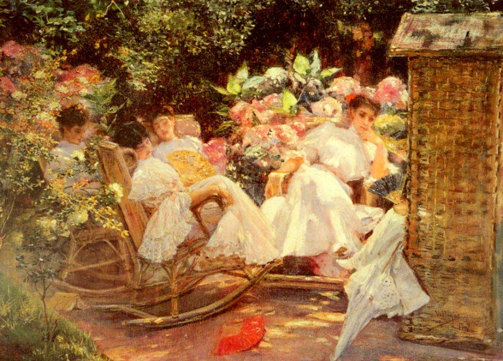 Ladies In A Garden | Jose Villegas Cordero | Oil Painting