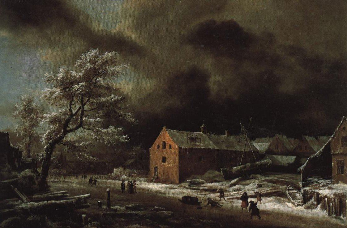 Canal With Commercial Building In Winter | Attributed To Jacob Isaacksz Van Ruisdael | Oil Painting