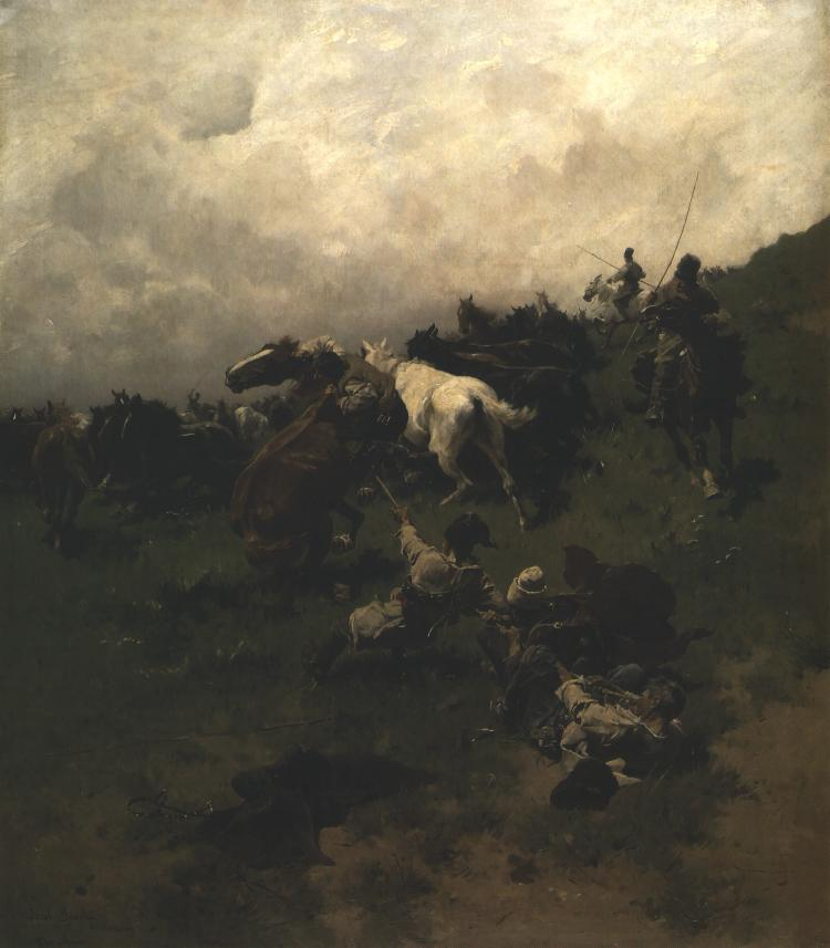 Capture Of A Horse With A Lariat | Jozef Brandt | Oil Painting