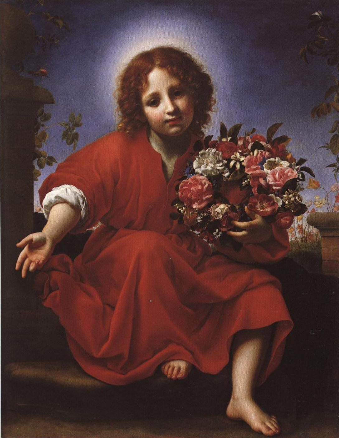 The Young Jesus With A Wreath Of Flowers | Carlo Dolci | Oil Painting