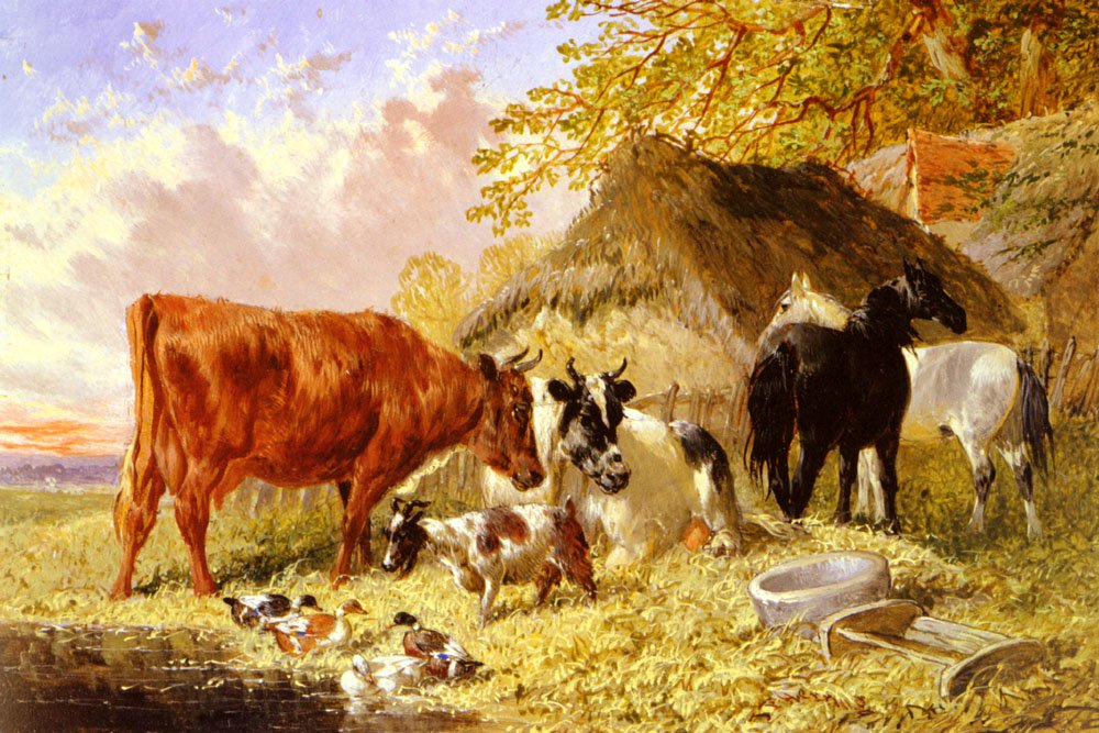 Horses Cows Ducks and a Goat By a  Farmhouse | Jr John Frederick Herring | Oil Painting