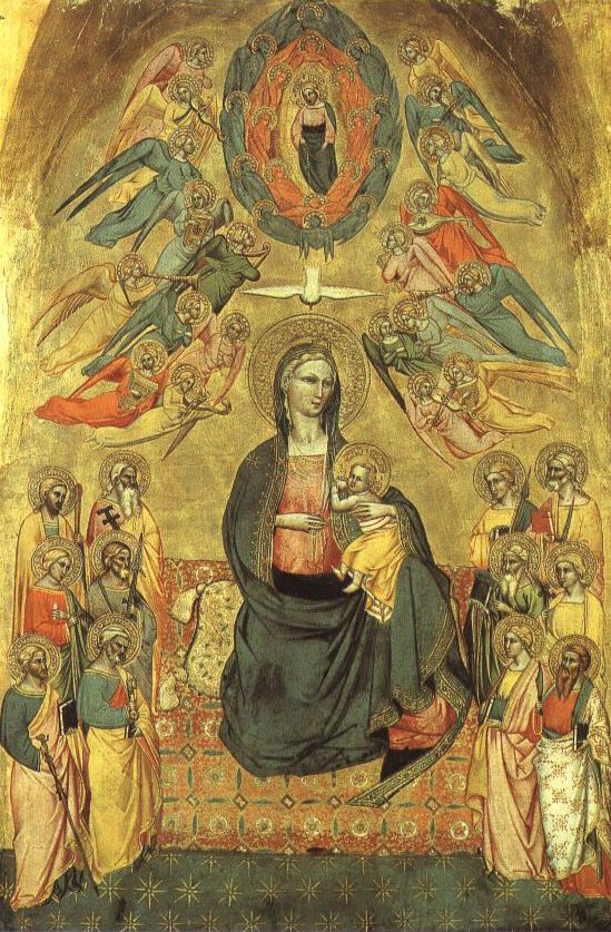 Madonna Of Humility With The Eternal Father In Glory The Dove Of The Holy Spirit And The Twelve Apostles | Cenni Di Fancesco | Oil Painting