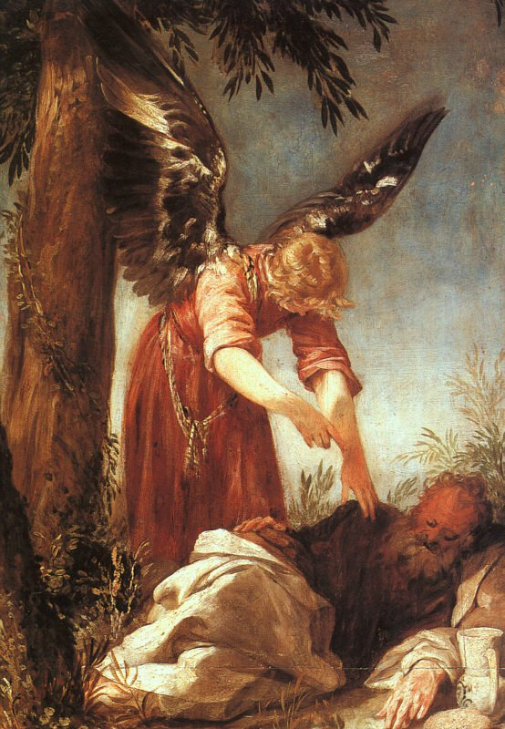 An Angel Awakens The Prophet Elijah 1667 | Juan Antonio Escalant | Oil Painting