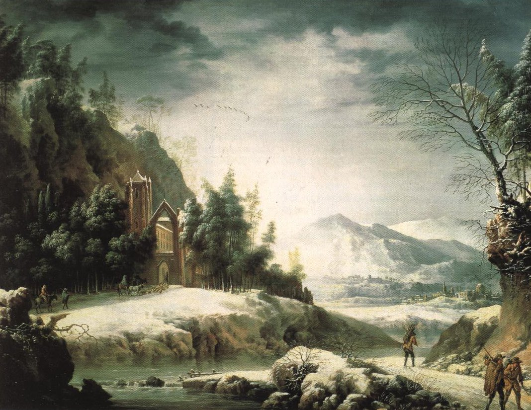 Winter Landscape In The Apennines With Classical Ruins | Francesco Foschi | Oil Painting