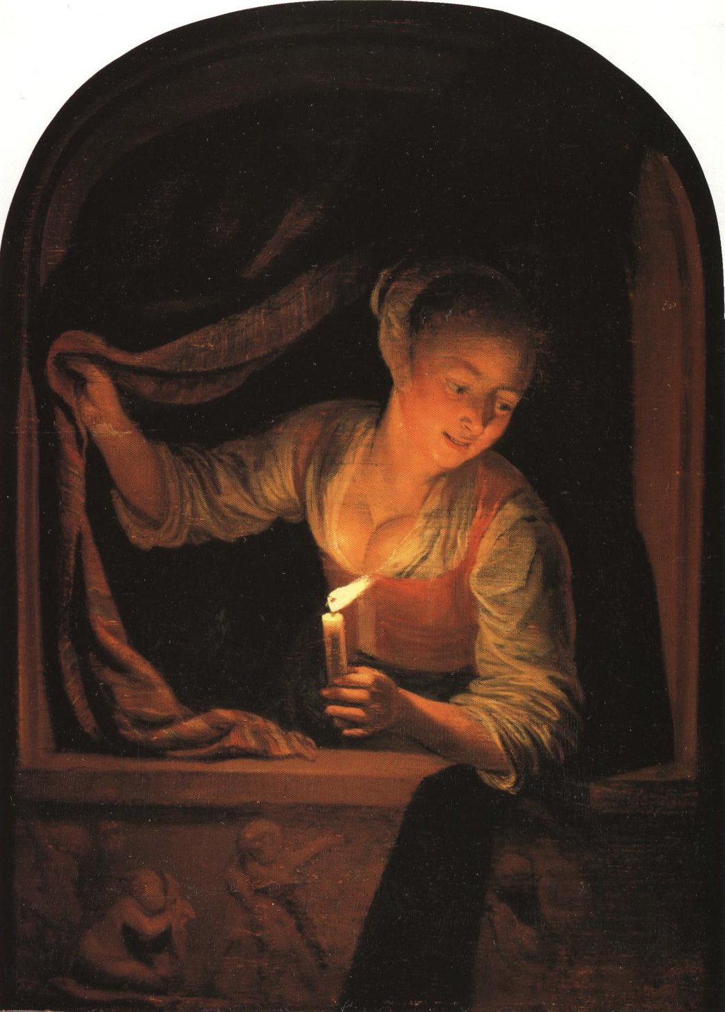Young Woman With A Lighted Candle At A Window | Gerrit Dou | Oil Painting