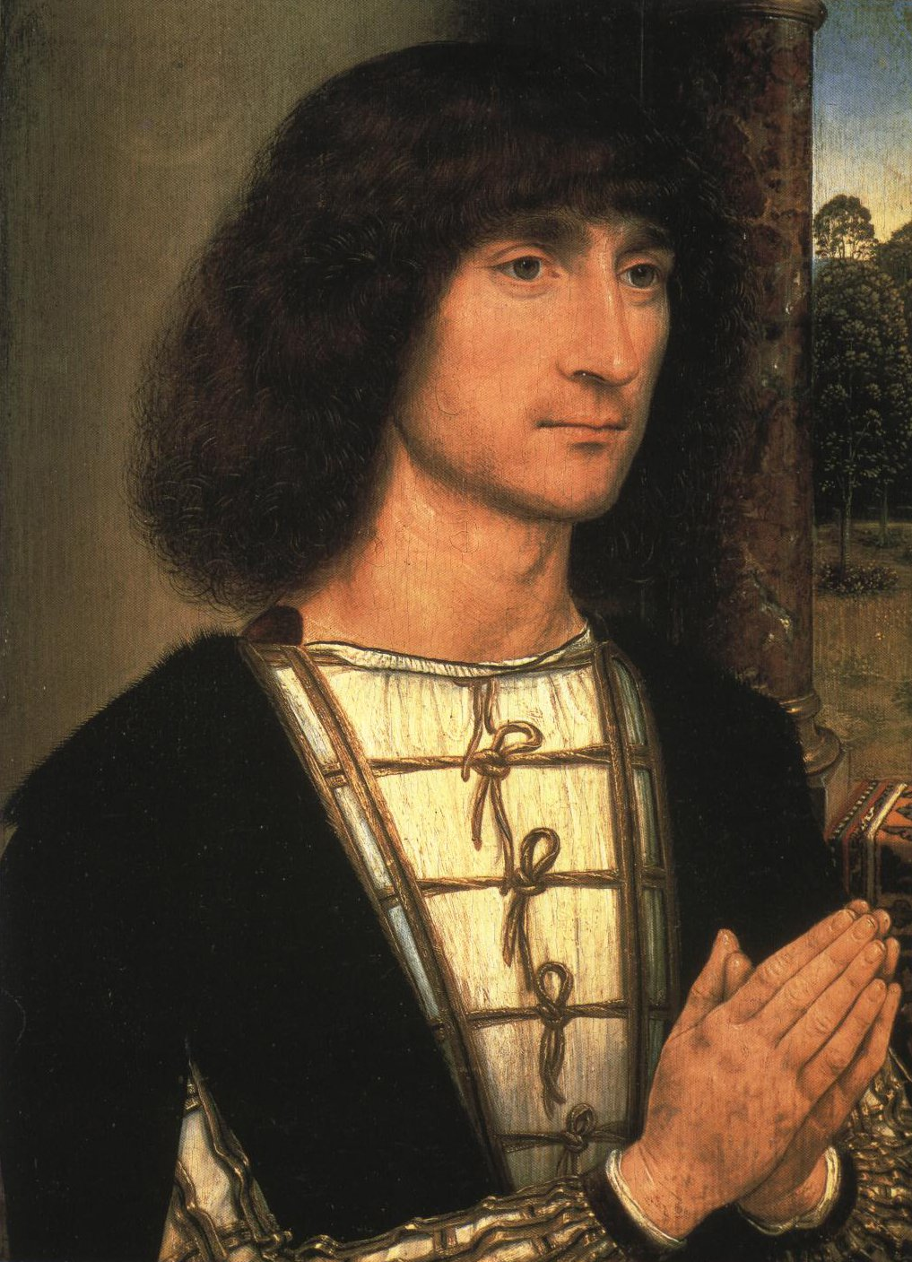 Young Man At Prayer | Hans Memling | Oil Painting