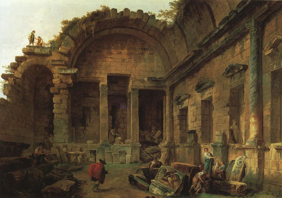 Interior Of The Temple Of Diana At Nimes | Hubert Robert | Oil Painting