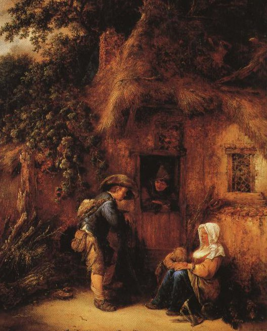Traveller At A Cottage Door | Isack Van Ostade | Oil Painting