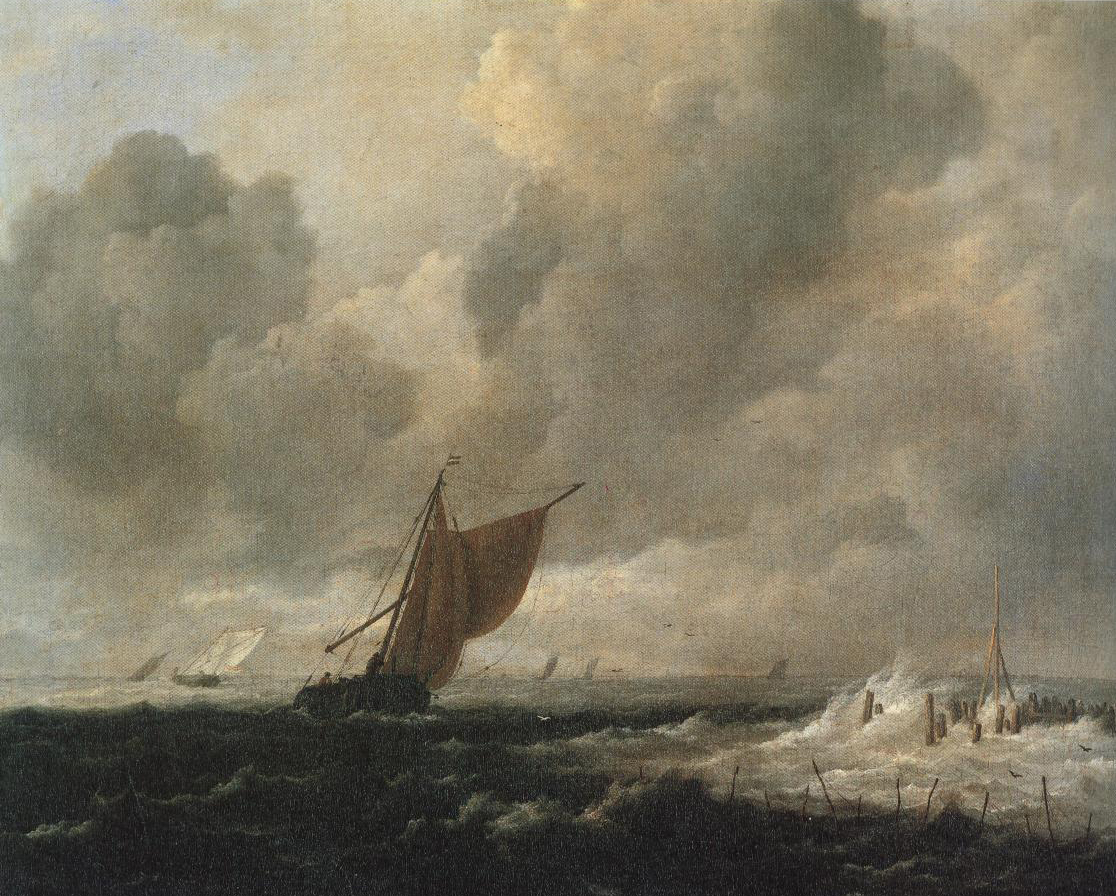 Rough Sea With Sailing Vessels | Jacob Isaacksz Van Ruisdael | Oil Painting