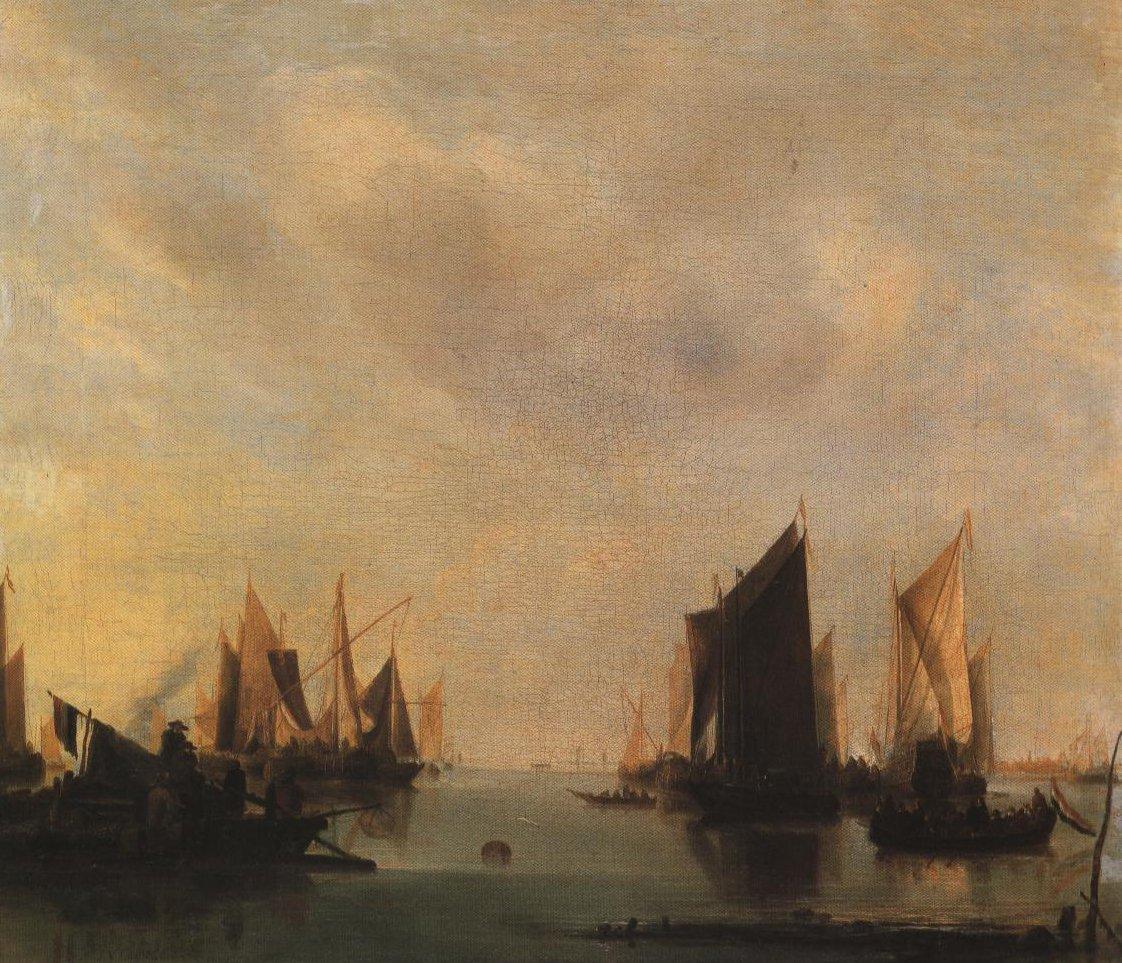 Coast Scene With Numerous Vessels | Jan Van De Cappelle | Oil Painting