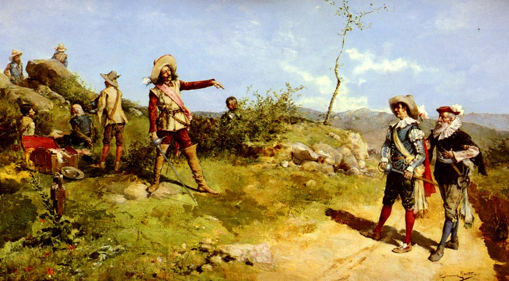 Cavaliers In The Field | Juan Jimenez Y Martin | Oil Painting