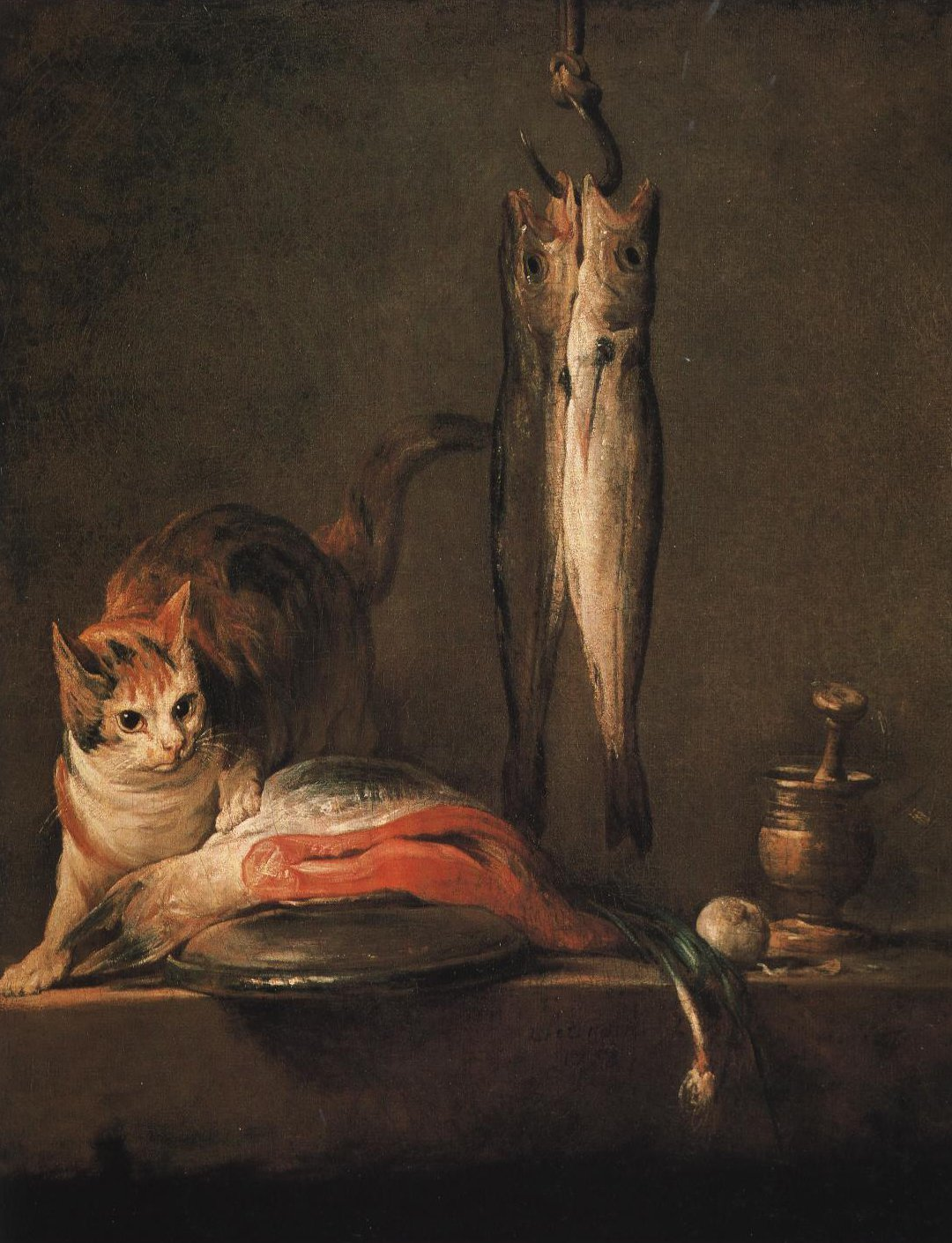 Still Life With Cat And Fish Le Larron En Bonne Fortune | Jean Baptist Simeon Chardin | Oil Painting