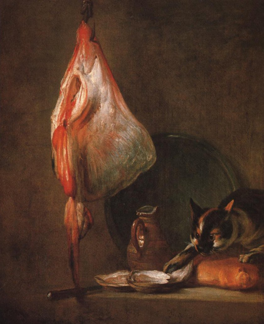 Still Life With Cat And Rayfish | Jean Baptist Simeon Chardin | Oil Painting