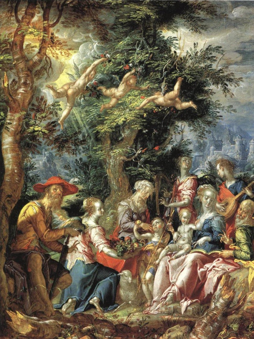 The Holy Family With Saints And Angels | Joachim Wtewael | Oil Painting