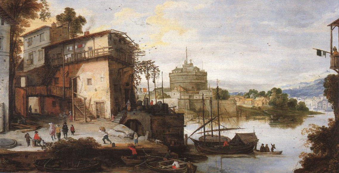 View Of A River Port With The Sant Angelo Castle | Joos De Momper | Oil Painting