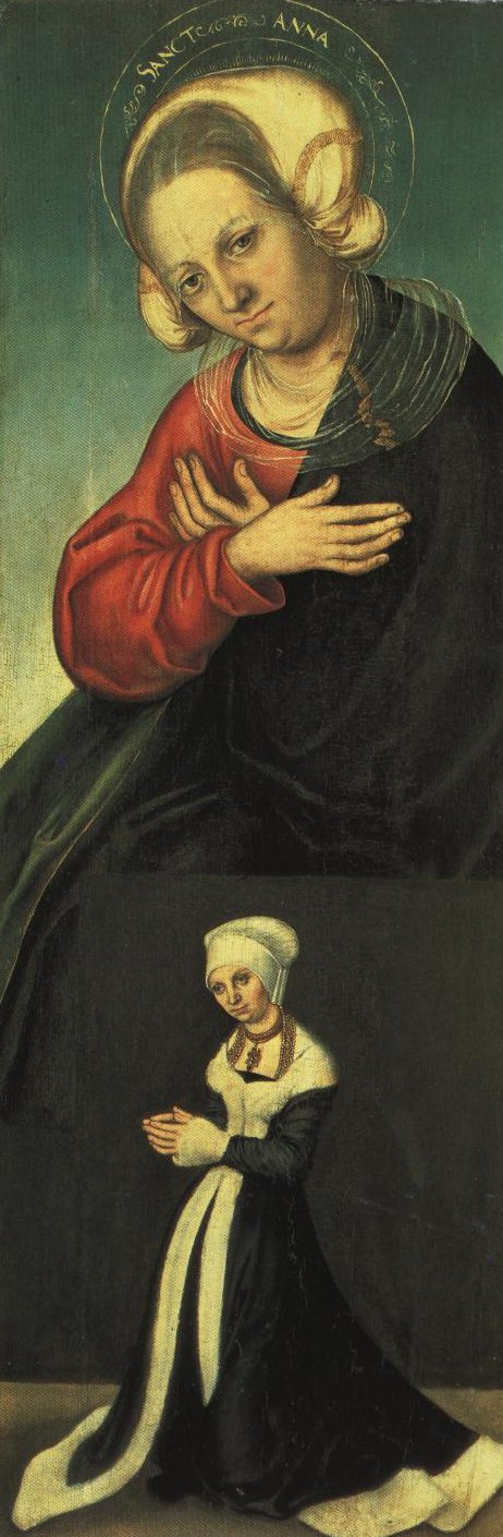 St Anne With Donor Duchess Barbara Of Saxony Right Wing Inside Panel | Lucas Cranach The Elder | Oil Painting