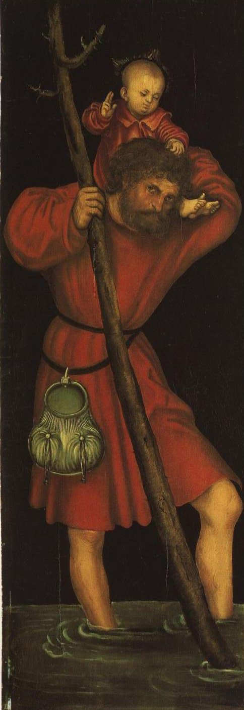 St Christopher Left Wing Outside Panel | Lucas Cranach The Elder | Oil Painting