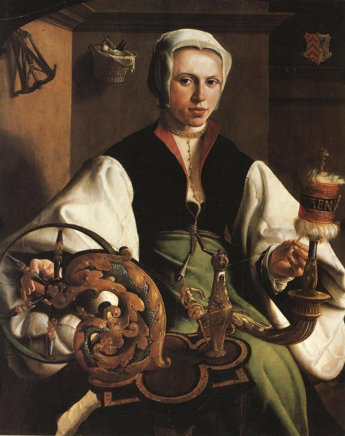 Portrait Of A Lady With Spindle And Distaff | Maerten Van Heemskerck | Oil Painting